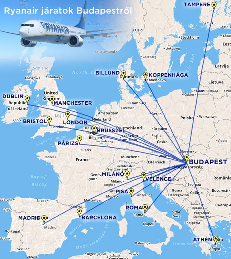 fa1d12a6e126 A térképről jelenleg még hiányzik a Ryanair legújabb Budapestről induló  járatának célállomása, az izraeli Eilat-Ovda repülőtere.